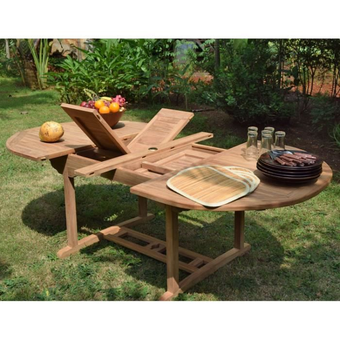 Table en teck ovale extensible 160 190 220x120 achat for Table de jardin ovale