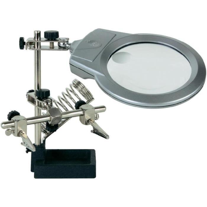Flexible 5 bras w 3x loupe LED lampe à souder soudage outil d/'aide à la main