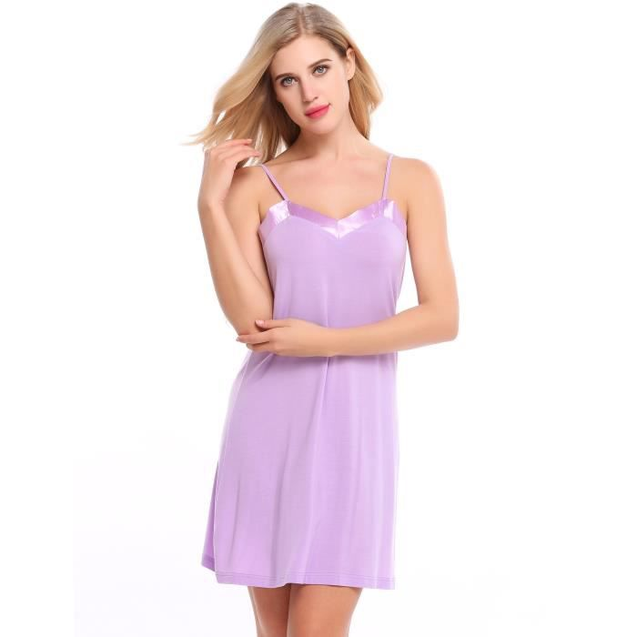 robe de nuit Sexy Adjustable Spaghetti Strap Satin Patchwork Slim