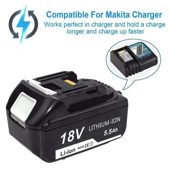 BL1860B FUNMALL BL1860B 18V 5.5Ah Li-ion Batterie Remplacement pour Makita