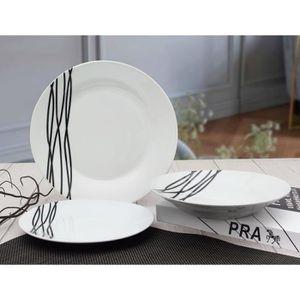 SERVICE COMPLET ETHNIQUE Service en porcelaine de 18 pièces -Blanc