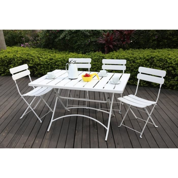 finlandek ensemble table de jardin 120 4 chaises acier. Black Bedroom Furniture Sets. Home Design Ideas