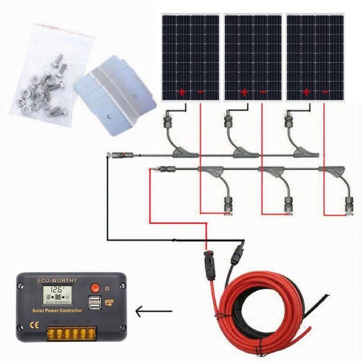 caravane contr/ôleur de charge solaire 20 A supports de montage pour bateau camping-car c/âble solaire de 5 m ECO-WORTHY Syst/ème de panneau solaire 12 V : panneau solaire mono 120 W