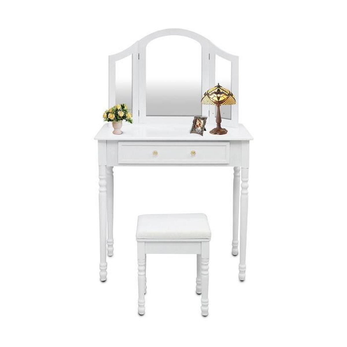 table de maquillage coiffeuse avec miroir et tabouret couleur blanche achat vente. Black Bedroom Furniture Sets. Home Design Ideas