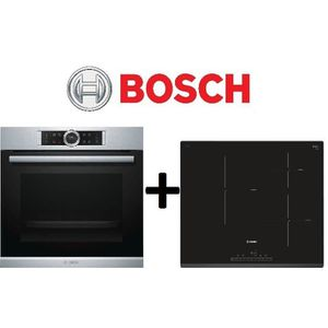 PACK cuisson BOSCH: HBG675BS1F Four chaleur tournante-71L-Pyrolyse EcoClean+PIJ631FB1E-Table de cuisson ? Induction