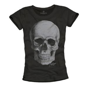 Skull t-shirt Femmes Italie Drapeau tete de mort rockabilly Femmes top rock fashion