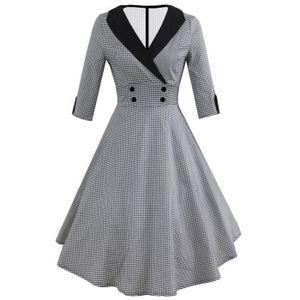 ROBE Femmes Mode manches 3-4 Robe Vintage imprimé à poi