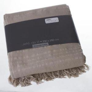 JETÉE DE LIT - BOUTIS Couvre-lit, Jeté de lit en coton coloris LIN, 230