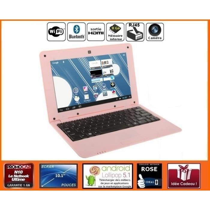 Mini ordinateur portable Netbook Rose Android HDMI écran...