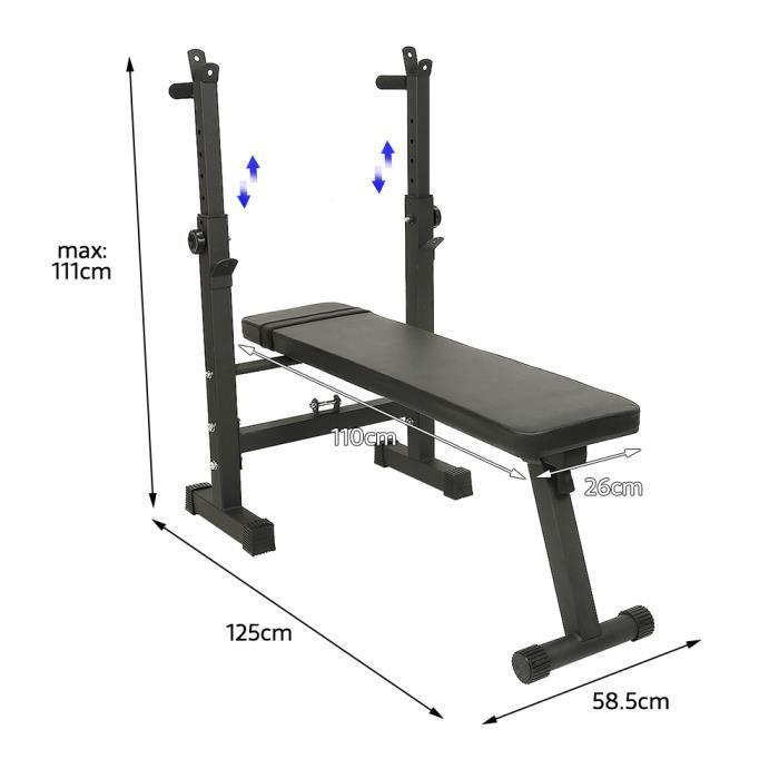 Banc de Musculation Pliable avec Support pour haltères 125 x 58.5 x 71 - 111 cm