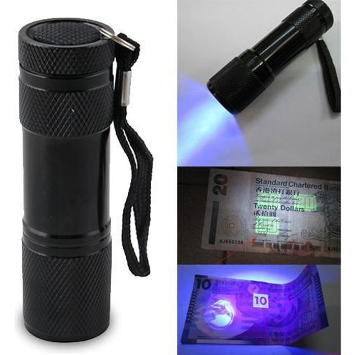 9LED UV Ultra Violet Lampe de poche Torche électrique