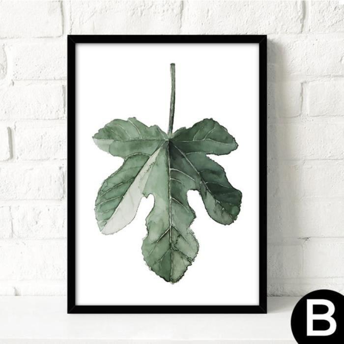 Peinture encadrée aquarelle moderne plante verte feuilles toile peinture impression sur toile affiche décoration murale (noir)