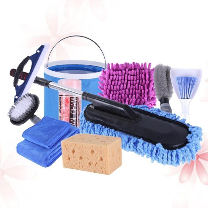 11 pcs / ensemble voiture outils de lavage à domicile kit nettoyage microfibre gant serviette brosse pliant seau éponge cire vadroui