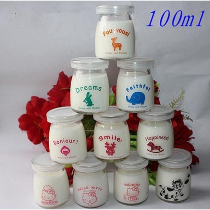 10 Pot Yaourt en Verre avec Couvercles Bonjour Pour Vous Dreams Bocal Crème Dessert Contenance 100 ml