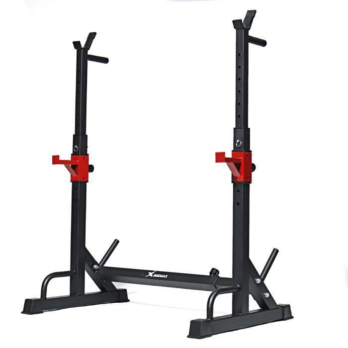 GEEMAX BS-01 Haltère de Levage de Poids Haltère de Musculation Acier Barre Réglable Squat Support d'exercice