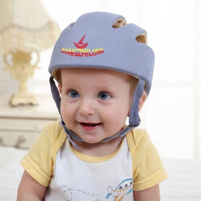 Casque Sécurité Bébé Casque de Protection Bébé Sécurité Domestique en Coton Douce Réglable Antichoc (Gris) la31490