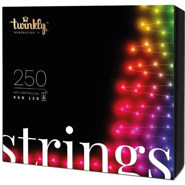 Guirlande lumineuse Connectée TWINKLY 250 Leds RGB 20m pour Sapin de Noël Multicolore