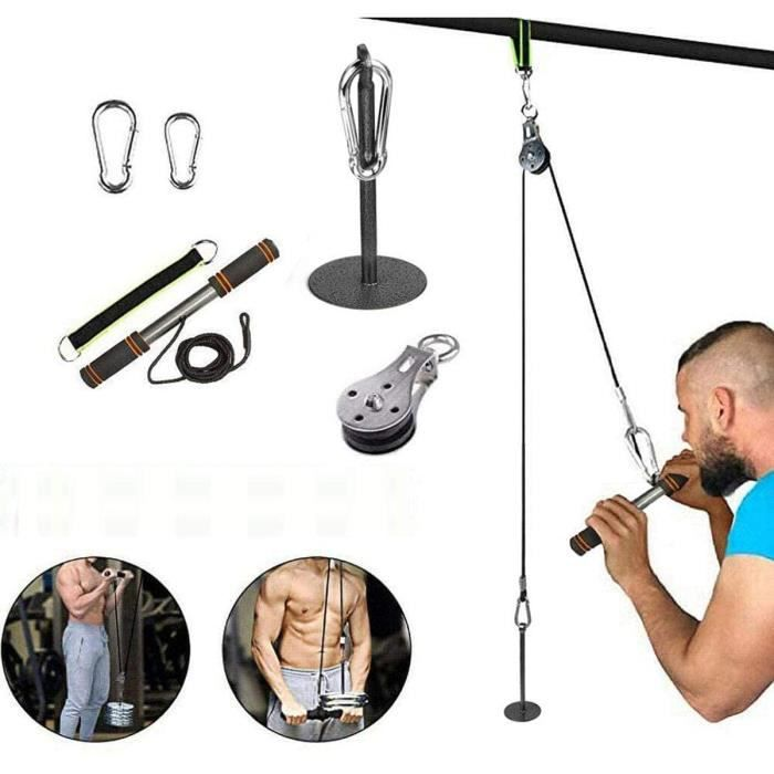 FOOING Musculation Poulie Rouleau de Poignet avec Poignées de Résistance Câble de Remise en Forme Système de Fixation du Bras Biceps