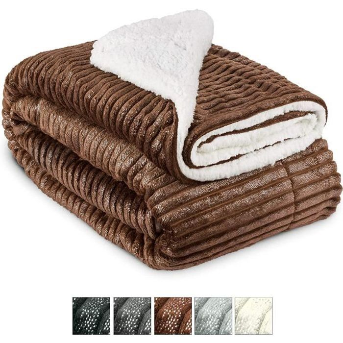 Beautissu Couvre lit Elisa Couverture polaire avec impressions scintillantes 220x240cm – Plaid doux Couverture chaude - Marron clair