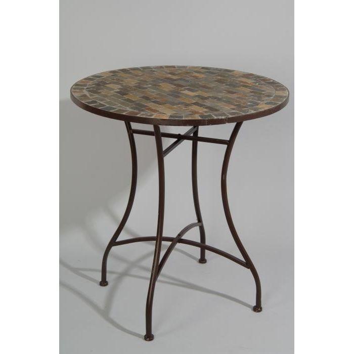 Table ronde de jardin en fer forgé avec mosaique