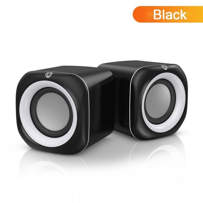Haut-parleurs Enceintes Ordinateur Stéréo pour ordinateurs portables/ordinateurs de bureau/appareils MP3 Noir