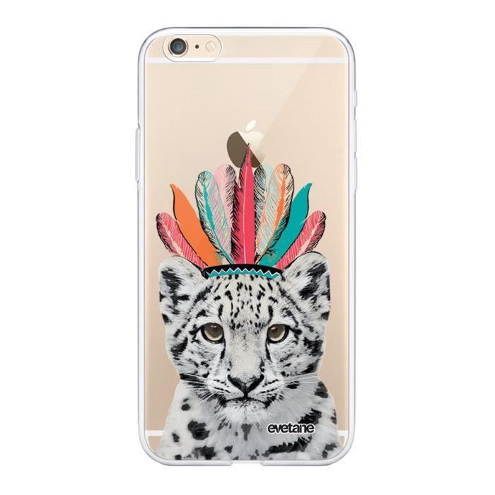 Coque iPhone 6 iPhone 6S 360 intégrale transparente Léopard Indien Ecriture Tendance Design Evetane