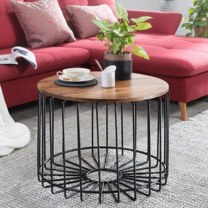 FineBuy Table basse FB51439 table de salon Sheesham bois massif métal rond
