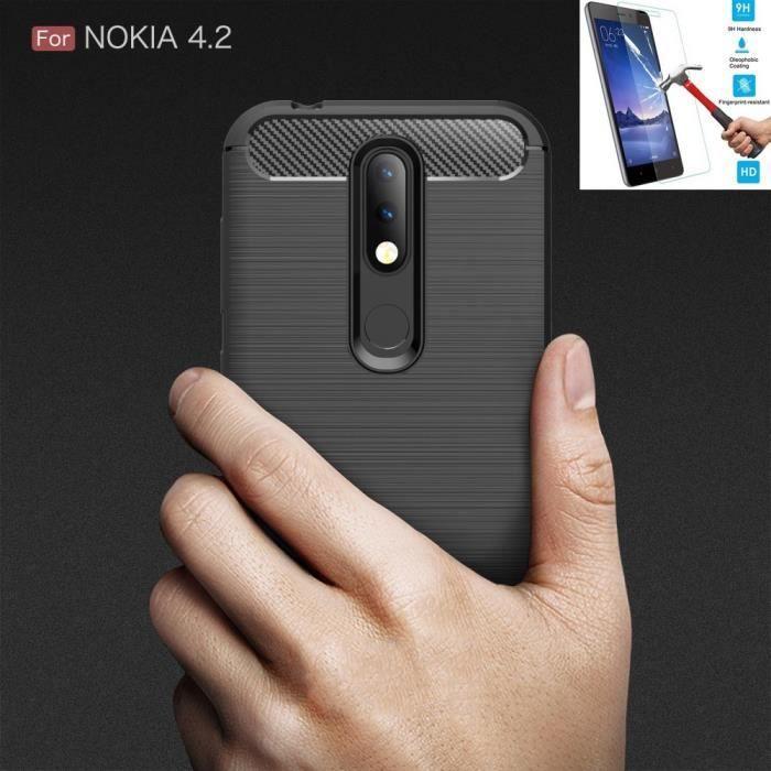 Nokia 4.2 Carbone Noir + Film Verre Trempé Coque Housse Etui En Silicone Gel Souple hfs-house®