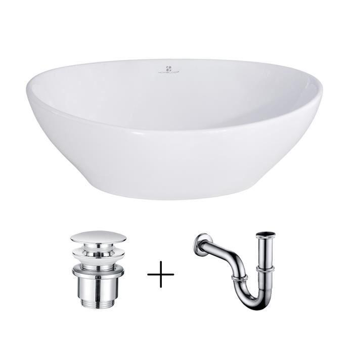 Homelody® Vasque Salle de Bain Lavabo Vasque en Céramique Blanc Vasque à Poser Ovale avec Bonde Siphon Lave Main Haut de Gamme