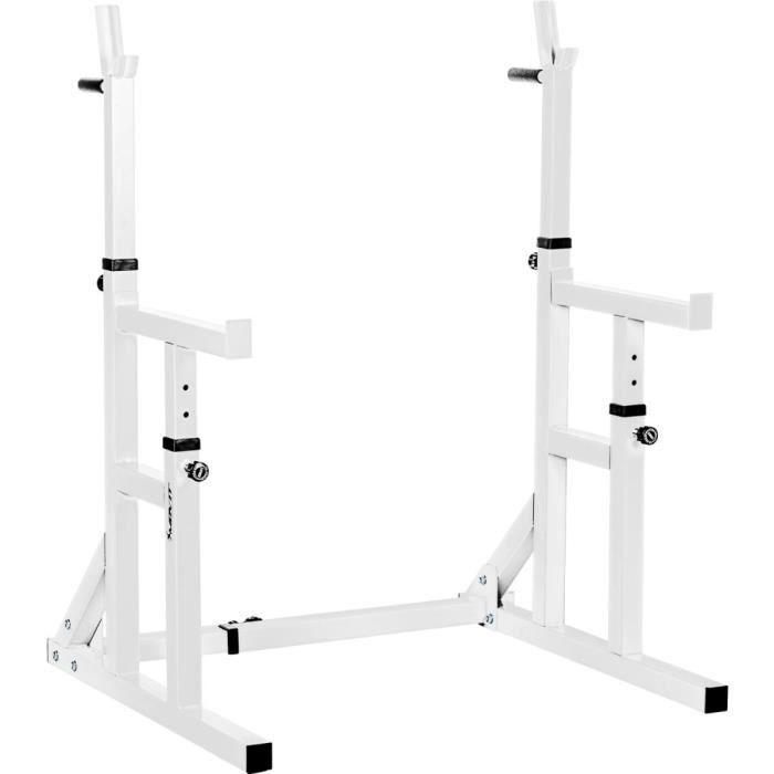 MOVIT® Rack à Squat Pro, ensemble de 2 supports d'haltères réglables, supports pour haltères de muscu, Home-Gym, couleur blanc