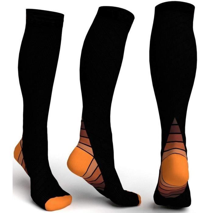 Chaussettes de compression femmes hommes course à pied sport voyage athlétique Shin genou chaussettes hautes - Orange
