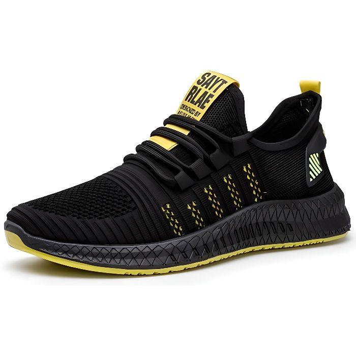 Chaussures de course de sport pour hommes, chaussures légères en maille volante-jaune