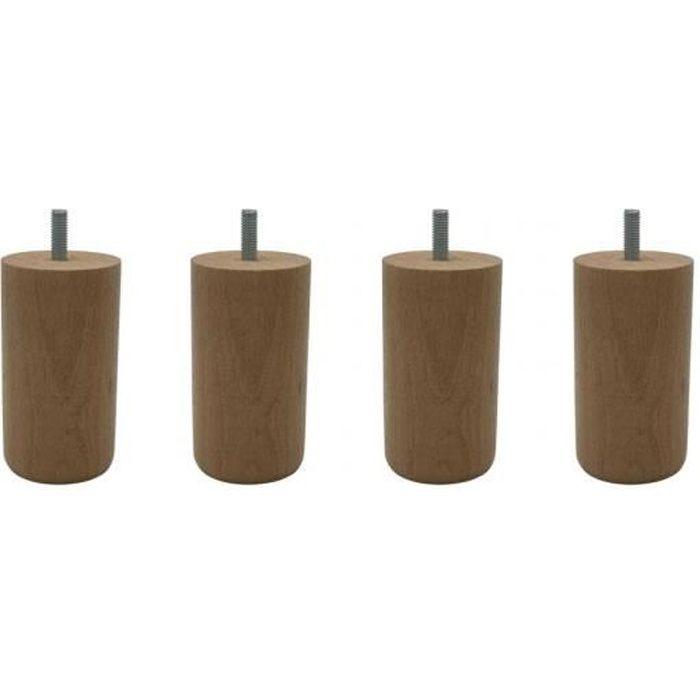 4 pieds cylindriques bois naturel 10 cm