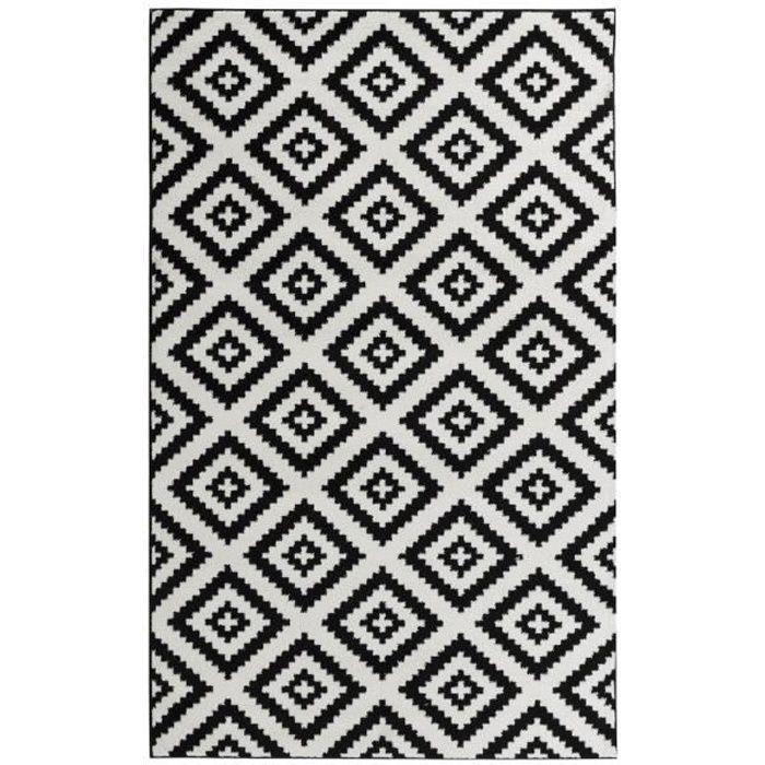 TAVLA Tapis de salon moderne - 200 x 280 cm - 100% polypropylène frisée - Noir