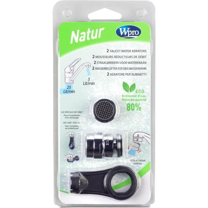 WPRO AER200 Kit 2 mousseurs reducteurs de débit + 1 tête - réduction 5litres/min constants, pour robinet femelles,