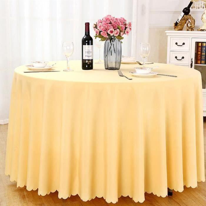 QF20000-Nappe de table, Nappe ronde, Nappe ronde 240 cm, Nappe ronde antitache, Nappe exterieur table ronde, nappe table ronde jau