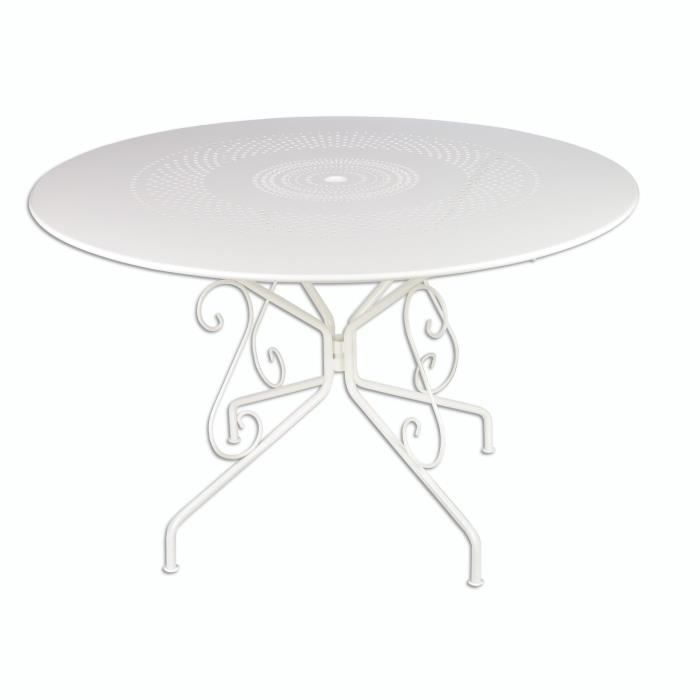 Table en fer forg blanc achat vente table de jardin for Table de jardin ronde en fer