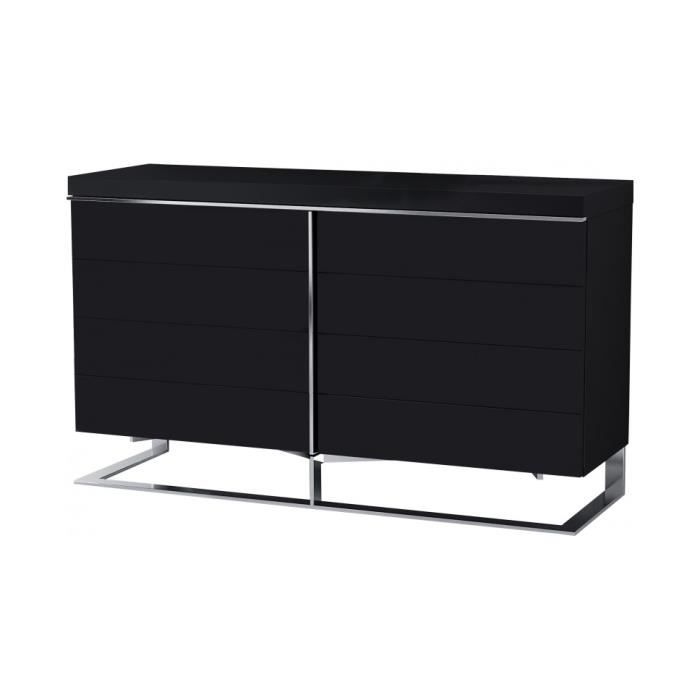 buffet design 2 portes laque noir pieds inox achat. Black Bedroom Furniture Sets. Home Design Ideas