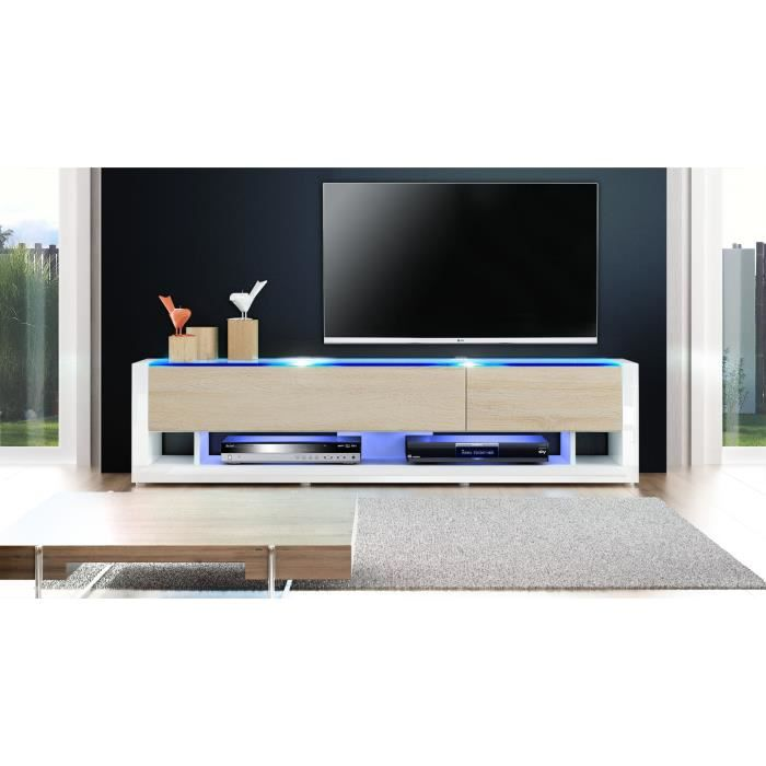 meuble tv blanc et bois brut achat vente meuble tv. Black Bedroom Furniture Sets. Home Design Ideas