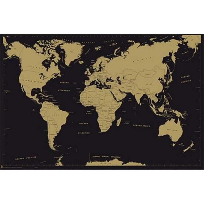 carte du monde affiche metallic achat vente affiche cdiscount. Black Bedroom Furniture Sets. Home Design Ideas