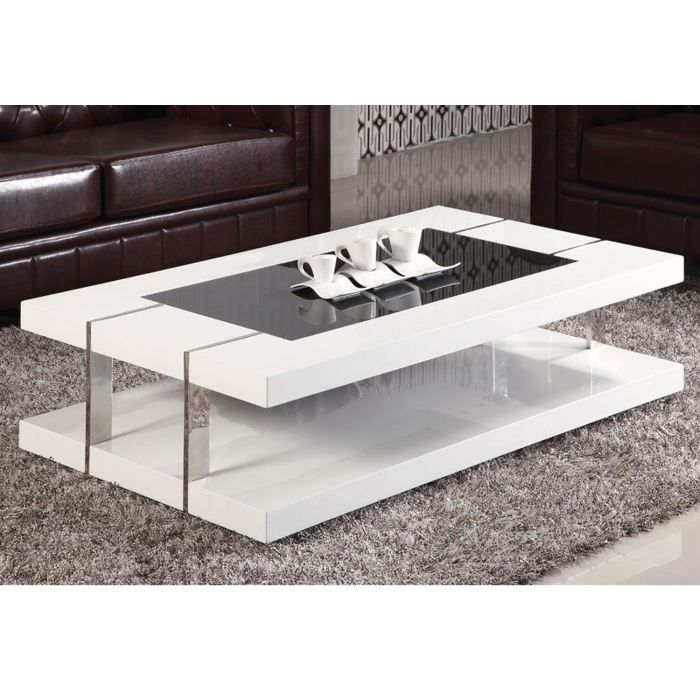 Table basse design laqu blanc verre tremp achat for Table basse blanche design