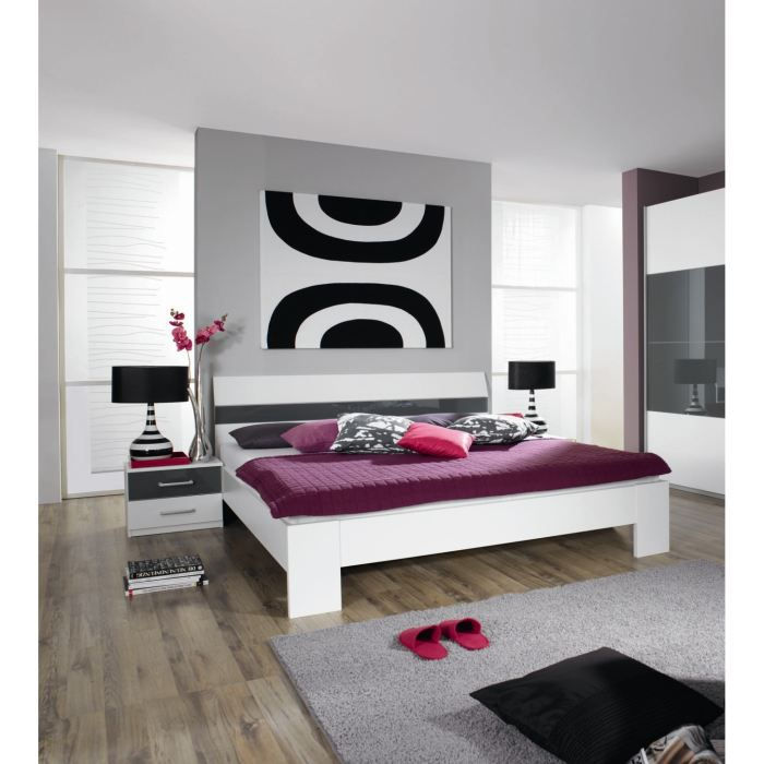 ensemble lit adulte et 2 chevets aubade l 160 x achat vente structure de lit ensemble lit. Black Bedroom Furniture Sets. Home Design Ideas