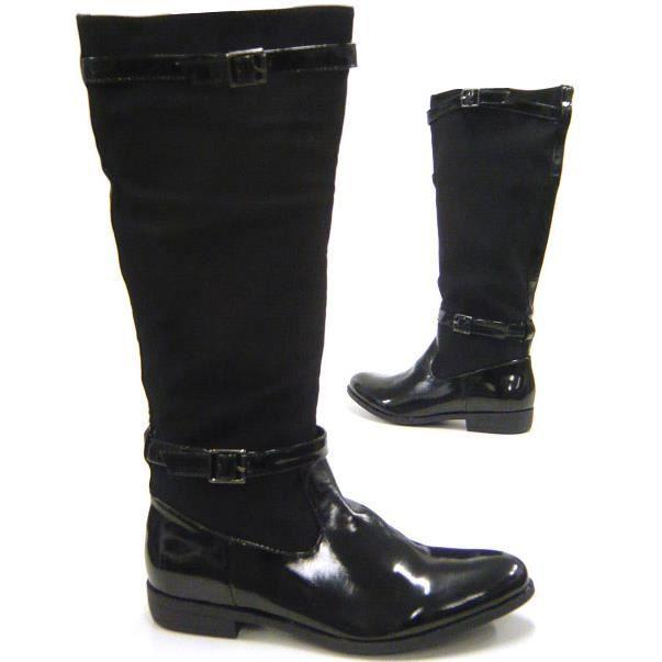 cavalier Style cuir Femmes chaussures Look verni bottes en vN80Omnw