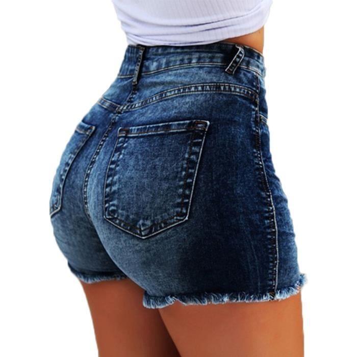 Minetom Shorts en Jean Femme Taille Haute