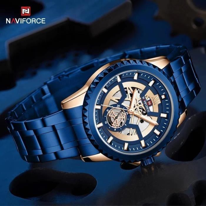 Horloge Mr Blue Bleu Argent Poli Acier Luxe Design Horloge Quartz 37,5 cm Ø