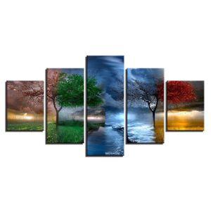 TABLEAU - TOILE Toiles imprimées 5 PIECES 4 saison arbres abstrait
