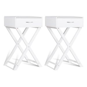 TABLE D'APPOINT COSTWAY 2 Table de Nuit en Bois Blanc 2 Tables de