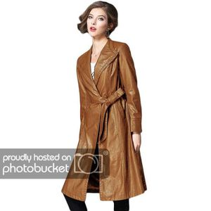 Imperméable - Trench Trench Femme Simili Cuir Mi-Long Col Revers Manche
