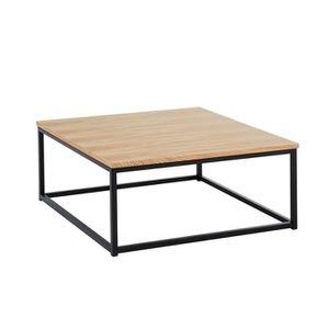 TABLE BASSE Table basse coloris chene clair et noir en MDF et
