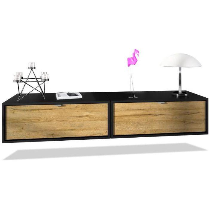 Ensemble de 2 set meuble TV Lana 80 armoire murale lowboard 80 x 29 x 37 cm, caisson en noir mat, façades en Chêne Nature
